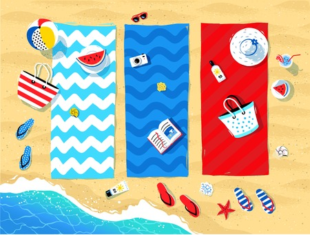 Summer vector illustration of beach mats and seaside accessories on sand background and sea surf.