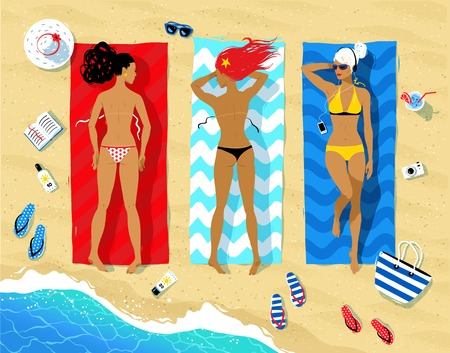 bikini top: Vector illustration of three young women lying on beach and sunbathing with summer accessories and sea surf near them.