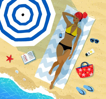 Top view vector illustration of girl lying on the beach with headphones under parasol with summer accessories near her and sea surf.