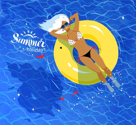 schwimmring: Junge Frau auf dem schwimmenden gelben Gummiring auf blauem Meerwasser Ripple Hintergrund ruht. Illustration