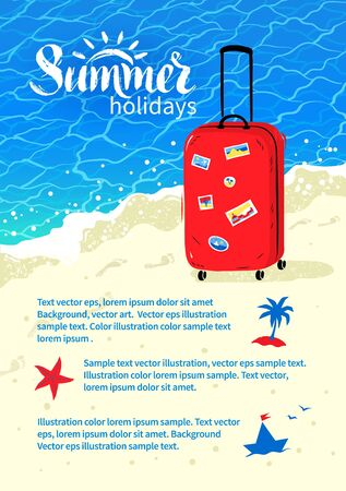 travel bag: Summer vacation flyer design with travel bag and sea coast background.