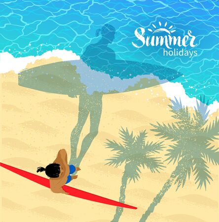 view from above: Top view vector illustration of surfer man standing near water with long shadow of palm trees. Illustration
