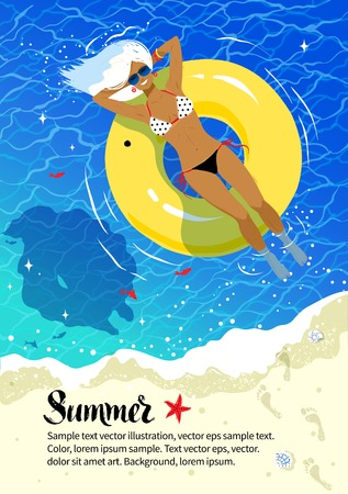 Summer vacation flyer design with young woman resting on yellow rubber ring and sea coast background. Illustration