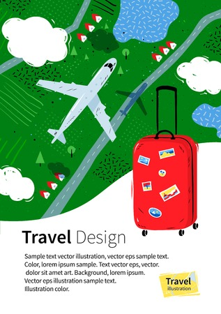above clouds: Flyer design with red travel bag, plane, clouds and rural landscape above.