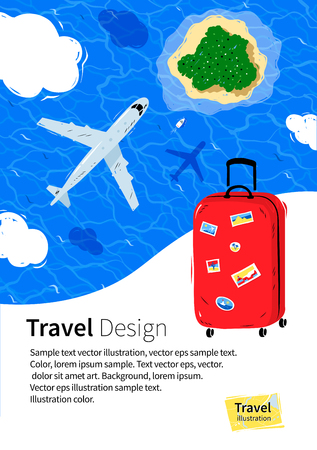 above clouds: Flyer design with red travel bag and plane flying near clouds above sea water and island.