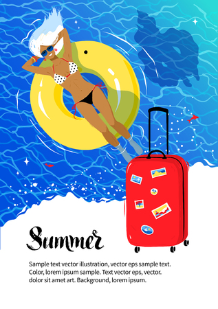 water waves: Summer vacation flyer design with red travel bag, young woman resting on yellow rubber ring and sea coast background.