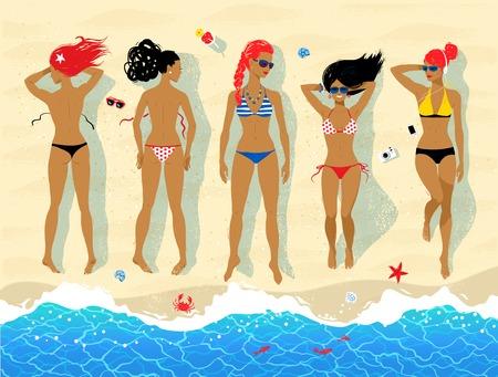 sunbathing: Top view vector illustration of five sunbathing young women lying on beach near sea surf. Illustration