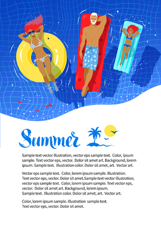 rubber ring: Summer vacation flyer design with happy family floating on rubber ring and pool rafts in swimming pool.