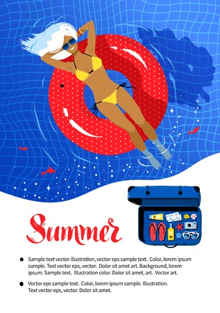 Summer vacation flyer design with young woman resting on red rubber ring in swimming pool.