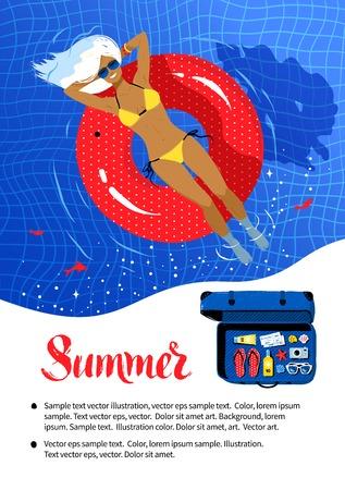 Zomervakantie flyer ontwerpen met jonge vrouw die op rode rubberen ring in het zwembad. Stock Illustratie