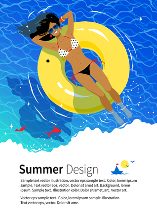 swimming pool woman: Summer vacation flyer design with young woman resting on yellow rubber ring in swimming pool. Illustration