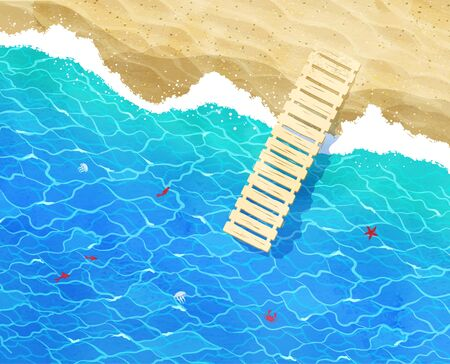 berth: Vector background with sea surf, berth, water ripple and beach sand.