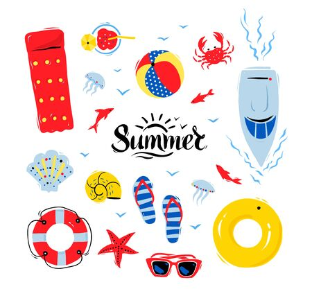 Vector summertime top view illustrations set with Summer word lettering on white background.