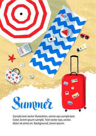 Summer vacation flyer design with top view of parasol and beach mat with accessories on sand and red travel bag.