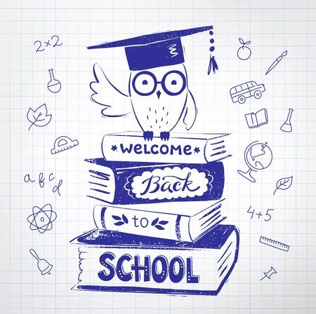 ilustración de búho que se sienta en los libros con la recepción de nuevo a letras de la escuela sobre fondo de papel a cuadros. Ilustración de vector