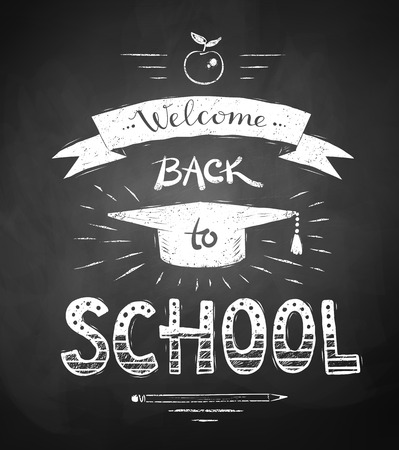 Welcome Back to School poster with mortarboard cap and ribbon banner on chalkboard background.