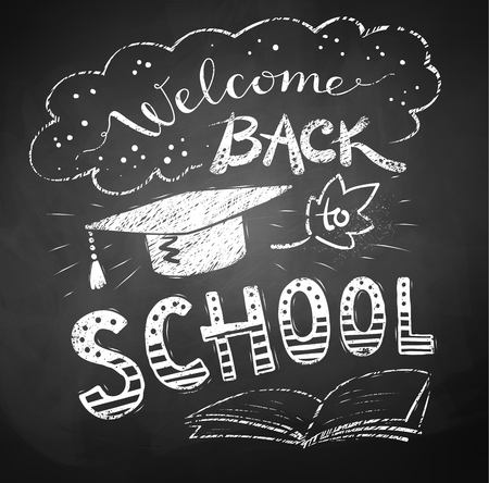 mortarboard: Welcome Back to School poster with mortarboard cap on chalkboard background. Illustration