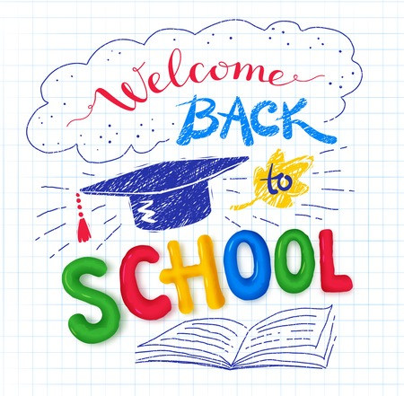 mortarboard: Welcome Back to School poster with plasticine letters and mortarboard on checkered paper background.
