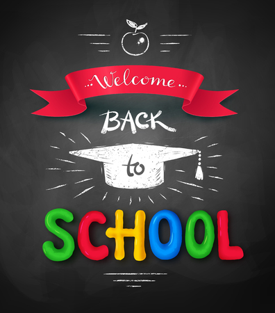 mortarboard: Welcome Back to School poster with plasticine letters, mortarboard cap and ribbon banner on chalkboard background.