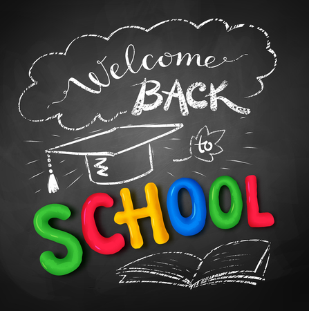 mortarboard: Welcome Back to School poster with plasticine letters, mortarboard cap on black chalkboard background.