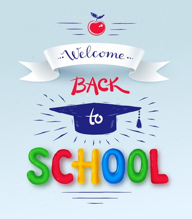 mortarboard: Welcome Back to School poster with plasticine letters, mortarboard cap and ribbon banner.