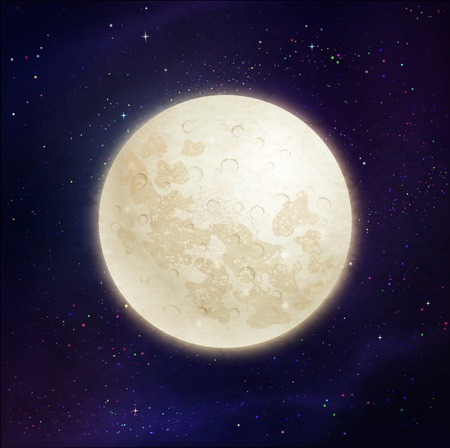 full: illustration of full moon on dark violet outer space and stars background.