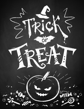 Chalk drawn Trick or Treat Halloween poster with pumpkin and candies on blackboard background.