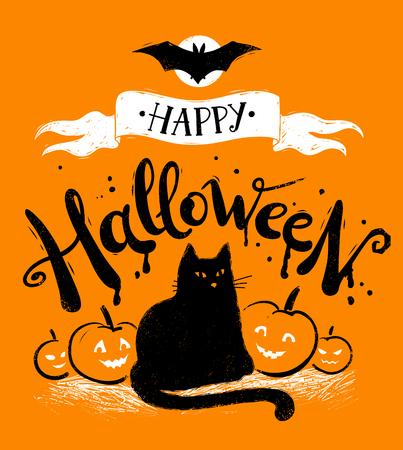 Cartolina felice di Halloween con gatto nero e zucche su sfondo arancione.