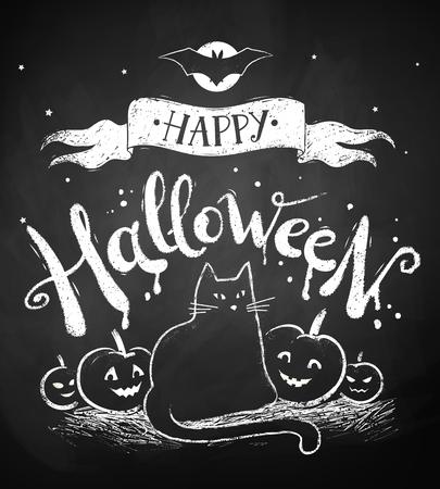 disegno di gesso di cartolina Happy Halloween con la luna, gatto nero e zucche sulla lavagna sfondo.