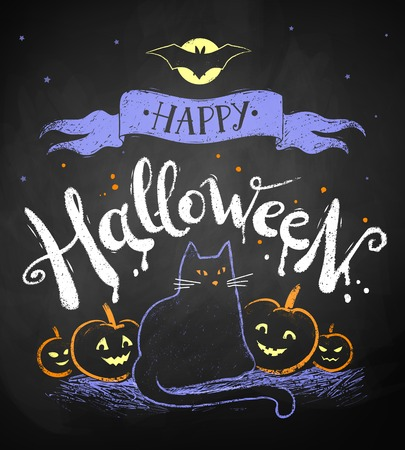 Chalk Drawing Of Happy Halloween Postcard With Moon Black Cat