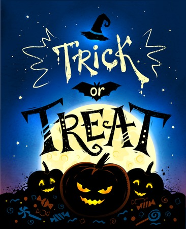 treat: Trick or Treat Halloween poster with pumpkins, full moon and candies on blue background. Illustration