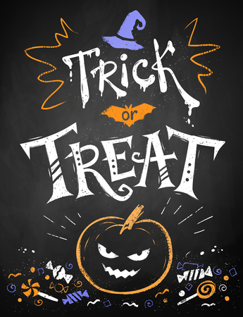 treat: Color chalk drawn Trick or Treat Halloween poster with pumpkin and candies on blackboard background.