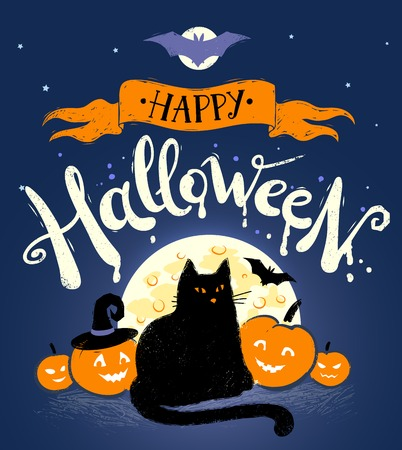Happy Halloween postcard with moon, black cat and pumpkins on dark blue background.
