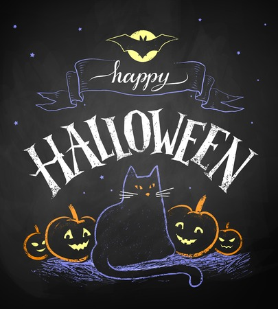 color chalk drawing of Happy Halloween postcard with black cat and pumpkins on chalkboard background.