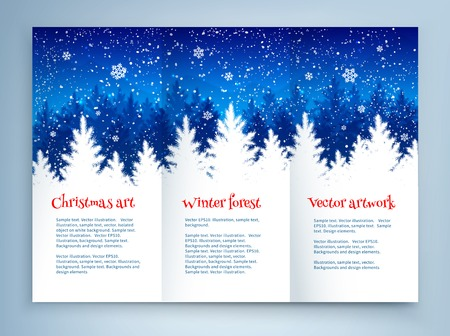 spruce: Christmas leaflet design template with winter spruce forest landscape and falling snow.
