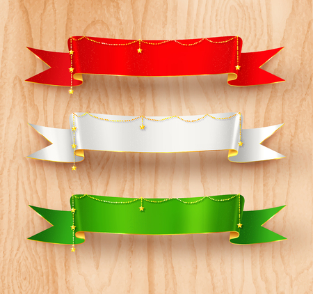 green banner: Festive satin ribbon banners with gold garland decoration on light wood texture  background. Illustration