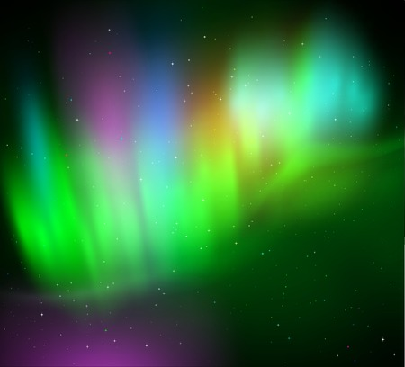 ionosphere: illustration of northern lights background in green colors.