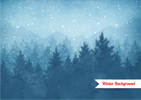 Winter landscape background with falling snow and spruce forest and mountains silhouette.