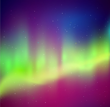 illustration of northern lights background in purple  violet and green colors. Reklamní fotografie - 64994180
