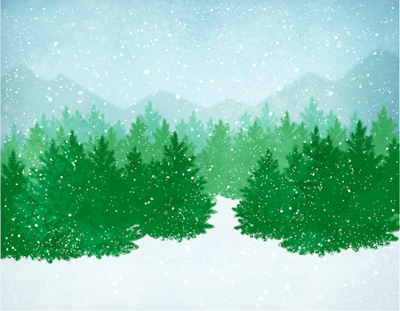 Winter landscape with falling snow, spruce forest and mountains.
