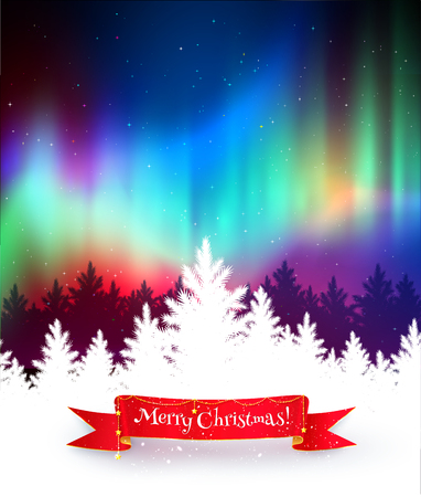 boreal: Winter landscape background with northern lights, white spruce forest silhouette and red festive ribbon banner.