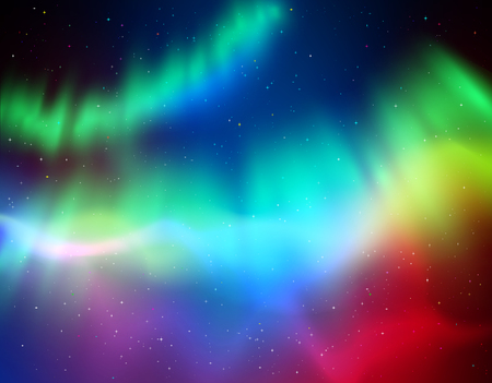 illustration of northern lights background in green and violet colors. Vectores