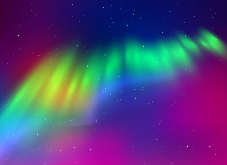 ionosphere: illustration of northern lights background in green and purple colors. Illustration
