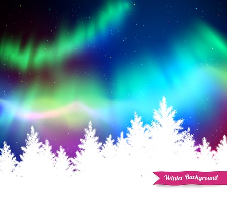 Winter landscape background with northern lights and white spruce forest silhouette. Иллюстрация