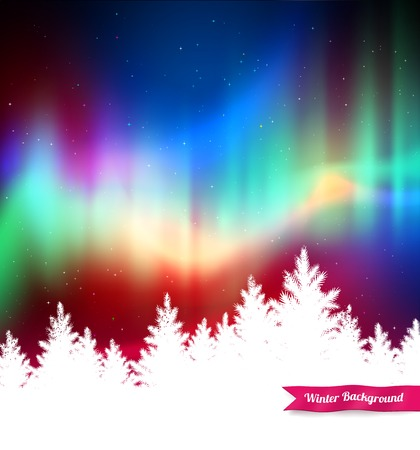 Winter landscape background with northern lights and white spruce forest silhouette. Illustration