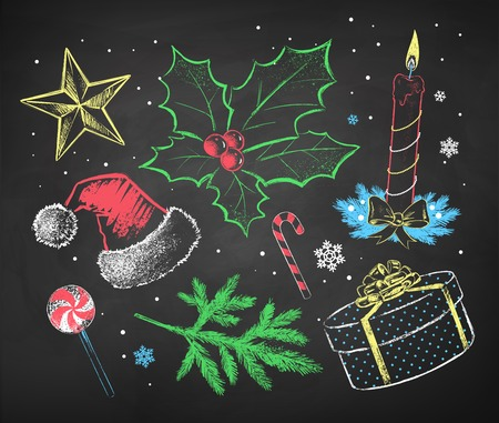 Hand drawn color chalked Christmas set. Stock Illustratie