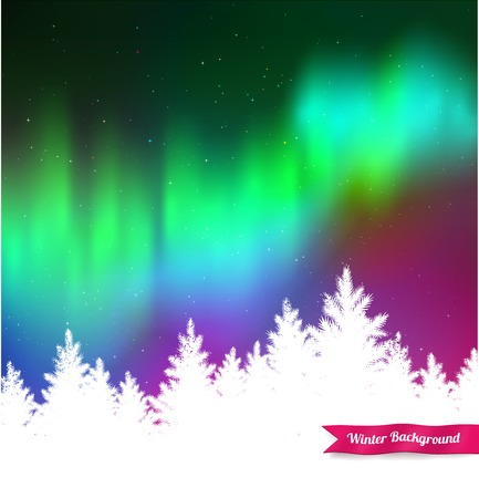 boreal: Winter landscape background with northern lights and white spruce forest silhouette. Illustration