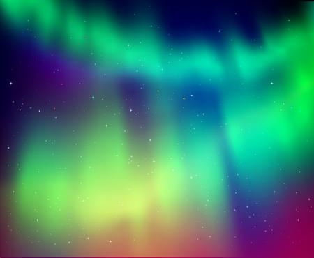 illustration of northern lights background in green and violet colors. Illustration