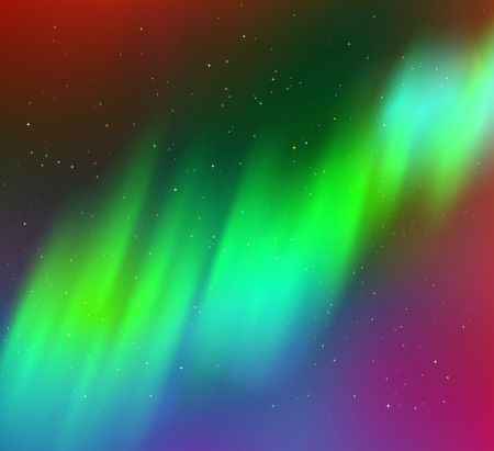 illustration of northern lights background in green colors.