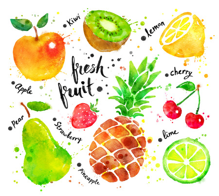 lime: Hand drawn watercolor colorful set of fruit with paint splashes.